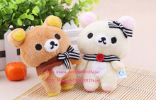 Kawaii 11CM Ribbon , Button Rilakkuma Bear Plush Stuffed TOY Soft Figure DOLL , Key Chain TOY DOLL Kid's Party Gift Plush Toys