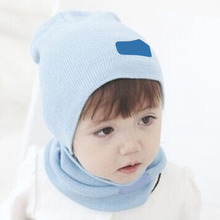 Children Hedging Crochet Hat Solid Color Candy Colored Winter Warm Knit Hats Newsboy Caps with Scarf(China)