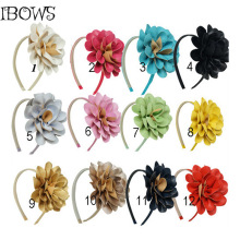 Girls Boutique Leather Flowers Hairband,Children Fashion Solid Hair Band,Flower Headband With Teeth Band For Kids CNHB-14120701