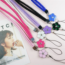 Crystal Lanyard Petals Colorful Mobile Phone Straps Lanyard Phone Neck Hanging Rope Chain Straps Keychain Charm Cords P0.11(China)