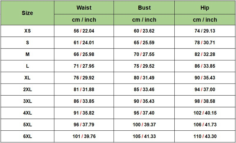 sizes for latex waist trainers