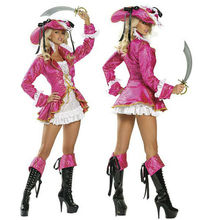 NEW Hot Selling  Adult Sexy Pink Pirate Treasure Ladies Fancy Dress Costume Hen Party Outfit Ladies Fancy Dress Costume & Hat
