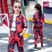 Girls Autumn Clothing Child Printing Baseball Wear Sweater Suit Leisure Time Pants Parenting Dress 2 Pieces Kids Clothing Sets