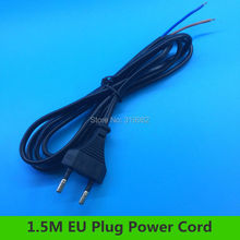 1.5 meters EU Plug Power Cord AC DC Wire Black Power Supply Extension Cable PVC 2X0.75mm for LED Electronics Lighting Lamp(China)
