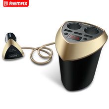 Remax Cup Car Charger Cigarette Lighter Voltage Display Cigarette Lighter Plug Socket Splitter 3 USB iphone samsung phone