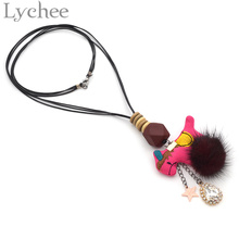 Lychee 1 piece Bohemian Style Fur Ball Horse Pendant Necklace Tassel Rope Chain Long Sweater Necklace Boho Jewelry for Women