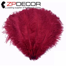 ZPDECOR 100 pcs/lot 55-60cm(22-24inch) Best Quality Large Burgundy Ostrich Drabs Wholesale Feathers for Wedding and Carnival(China)