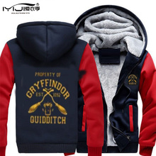 Thick Cotton Men Hoodies Gryffindor Quidditch Slytherin Baseball Jacket Moleton Warm Sweatshirts Hooded Coat Mantle Hm24 Z30(China)