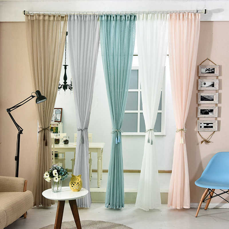 Many Colors Japan Solid Tulle Curtains for Bedroom Living Room Kitchen Modern Sheer Window Curtain Voile Blinds Drapes