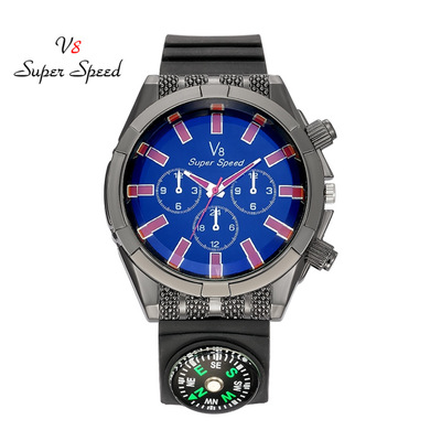 The new 2017 V8 men watch fashion leisure outdoor compass frosted leather military watches noctilucent quartz watches<br>