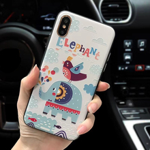 Elephant crocodile bird 3D Relief case Silicones + hard Plastic Case for iphone X 7 7Plus 6 6s 6plus 8 8plus back cover(China)