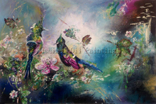 Top Artist Handmade High Quality Beautiful Colors Abstract Animal Birds Oil Painting on Canvas Bird Oil Painting for Wall Art