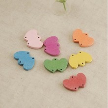 Free shipping! Wooden buttons Decoration Button Colours Dual Hearts Labels Handmade CARDS DIY Accessories  23*17MM 200pcs/lot
