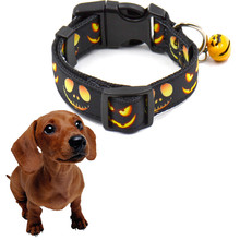 Lovely dog collar New Halloween festival pet bell collars Pumpkin pattern print pet Cute Black supplies 2017 For Small Dogs