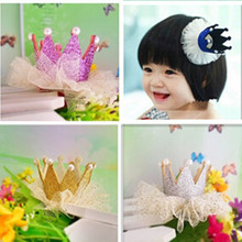 5 Colors Girl Pearls Crown White Fold Yarn Wraped Hair Clip Tiaras Headwear Children Princess Accessories Baby Party Accessories