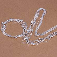 925 jewelry silver plated jewelry set, fashion jewelry set Five Lines Of Bean /cjnalaua cukallra LKNSPCS063(China)