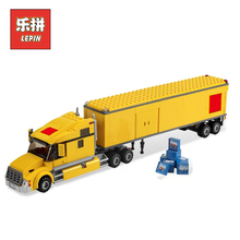 Lepin 02036 City Yellow Truck Building Blocks Bricks Transportation Truck Model Set Assemble Toys Children Gift with Lepin(China)