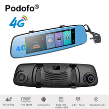 "Podofo 4G Car DVR 7.84"" Touch Screen ADAS Remote Monitor Rear View Mirror with GPS Navigation Camera Android 5.1 WiFi Dashcam"