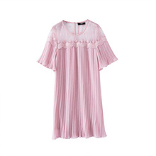 2017 summer large size women lace dresses lotus leaf sleeves loose pink pleated short sleeve real photo mini dress(China)