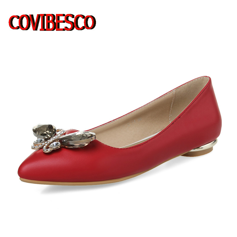 Brand Design Women Sexy Red Black Shoes Quality Pointed Toe Spring Summer Flats Rhinestone Comfortable Casual Shoes Ladies Flat<br><br>Aliexpress
