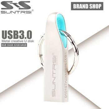 Suntrsi mlc usb 3.0 flash drive capacidad verdadera del 100% 64 gb 32 GB 16 GB del Palillo Del Usb Pendrive Pen Drive de Alta Velocidad de Metal A Prueba de agua Flash