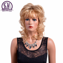 MSIWIGS Medium Length Blonde Curly Wigs with Bangs American Synthetic Ombre Wigs for White Women Heat Resistant Hair(China)
