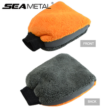 1pc Coral Fleece Velvet Car Wash Gloves Car Cleaning Care Mitt Lined With Waterproof Furniture Glass Dust Auto Cleaner Washer