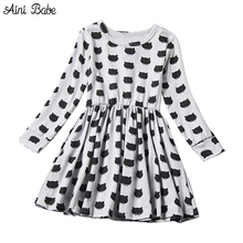 Baby Girl Holiday Dress Black Kitty Cat Girl Smock Frocks Infant Kids Party Clothes Children's Clothing Girl School Dresses 2-6T(China)