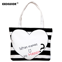 Simple Style Women Large Canvas Handbag Zipper Shopping Shoulder Bag Striped Heart Pattern Lady Girls Beach Bookbag Casual Tote