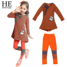 HE Hello Enjoy Girl clothing set 2017 Autumn girl sport suit kids clothes long sleeve stripe T-shirt+leggings 2pcs girl clothes
