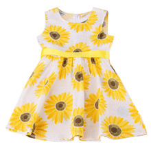 New Fashion Baby Girls Child Sunflower Pattern Princess Party Kid Summer Sleeveless A-Line Dress with Ribbons