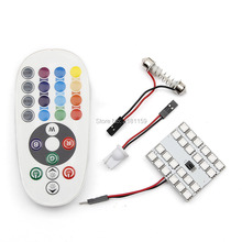 1set Car Styling 24smd 5050 Atmosphere Lights remote control multiple colour RGB decorations dome bulbs Interior reading lights