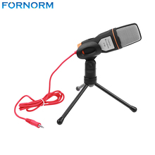 Fornorm 3.5mm Stereo Condenser Microphone with Holder Clip for Computer Skype MSN Chatting Singing Karaoke PC Laptop