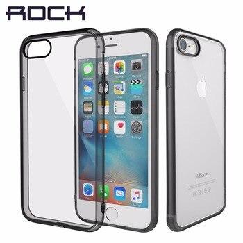 Rock puro series rígido de volta case para iphone 7/7 plus crystal clear phone case para iphone7 voltar hard case com soft borda