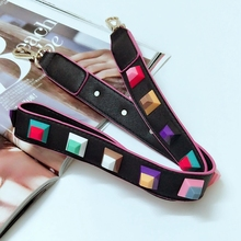 Colorful rivet handbags belts women bags strap women bag accessory bags parts pu leather icon bag belts 2 color(China)
