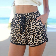 Summer New Elastic Waist Stretch Pocket Leopard Print Shorts for Women Mini Shorts Animal Printed(China)
