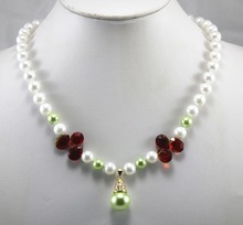 simplest fashion design! wholesale/retail  8mm white/light green shell pearl mixed crystal necklace+14mm  pearl pendant