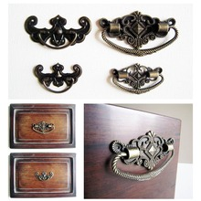 6pcs Antique Brass Bronze Jewelry Box Drawer Cabinet Cupboard Handle Pull Knob Flower Bat Shape(China)