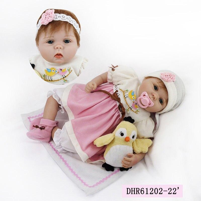 HOT 22inch Silicone Reborn Dolls Toys 55cm Silicone Dolls Girl Lifelike Bonecas Newboen Babies Toys Playmate Bonecas Brinquedos<br><br>Aliexpress