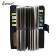 52 Slots Genuine Leather Men Business Card Holder Women Credit Card Case Bank/ID Card Bag Luxury Wallet High Quality porte carte