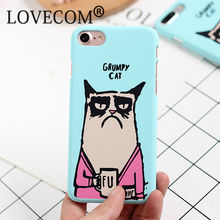 Cartoon Funny Cat Frosted Hard Phone Back Cover Case For iPhone 7 For iPhone 5 5S SE 6 6S 7 Plus Mobile Phone Bags & Cases Capa
