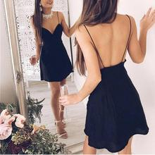 Buy vestidos 2017 Sexy women sleeveless Deep-V neck halter split dress backless party Club Velvet Dresses Bodycon Dress Black Cami for $8.30 in AliExpress store