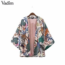 Vadim women vintage floral loose kimono shirts oversized open stitch coat ladies European style casual fashion tops CT1461(China)