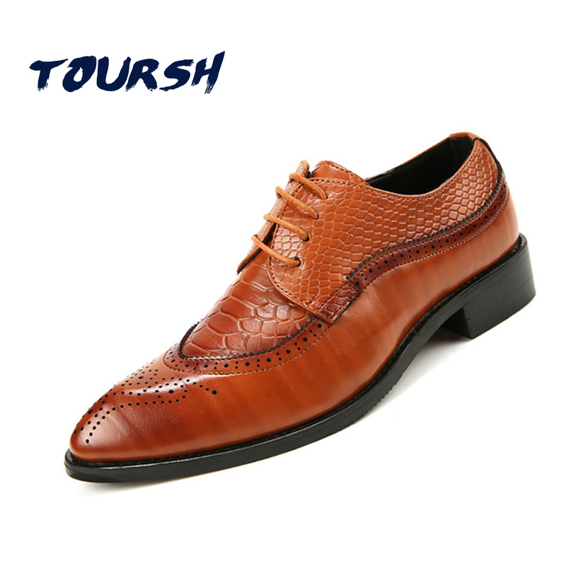 TOURSH 2018 Korean Luxury Shoes Men Brogue Shoes Genuine Leather Men Dress Shoes Lace Up Oxford Shoes For Men Sapato Masculino<br>