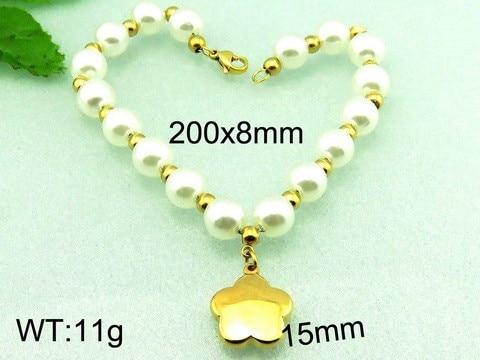 PVD Индийский золотой цвет звезды браслет для детей элегантный женский жемчужные бусы браслеты с простой застежкой омар(China)