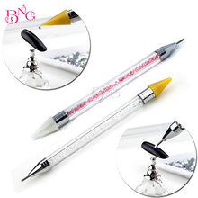 BNG 1pc Dual-ended Wax Nail Rhinestone Picker Dotting Pen Acrylic Handle Gem Pick Up Applicator Tool Self-Adhesive Dot Head Tips