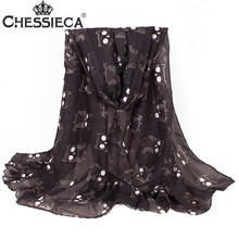 CHESSIECA Womens Owl Print Voile Scarf Winter And Autumn Cartoon Scarves Big Size Soft Shawl Echarpes Chiffon Hijab Cachecois