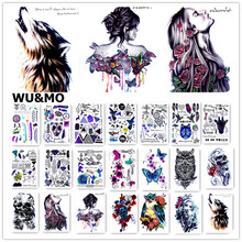 21*15cm HD Women Large Tatoo Sticker Halloween Big Black tatuagem Taty Cool Temporary Tattoo Stickers WU&MO