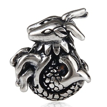 Authentic 925 Sterling Silver Animal Bead Charm Antique dragon beads Fit Women Pandora Bracelet & Bangles DIY Jewelry