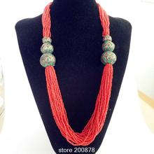 TNL594 Tibetan Necklace Red coraled mini Beads necklace Tibet Nepal handmade beads necklaces 2016 New Arrival(China)
